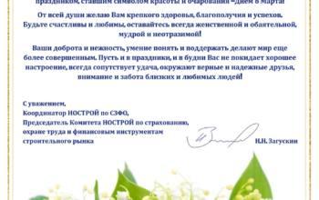 Координатор НОСТРОЙ по СЗФО Никита Загускин направил поздравления с Международным женским Днём